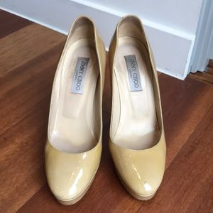 Jimmy Choo patent leather nude cosmic shoes